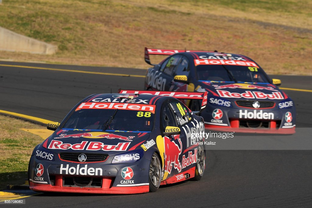 Jamie Whincup drives the #88 Red Bull Holden Racing Team Holden Commodore VF leads Shane Van Gisbergen drives the #97 Red Bull Holden Racing Team Holden Commodore VF during race 18 for the Sydney SuperSprint, which is part of the Supercars Championship at Sydney Motorsport Park on August 20, 2017 in Sydney, Australia.