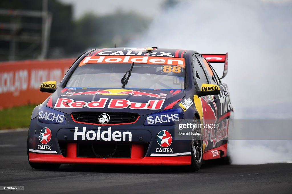 Jamie Whincup drives the #88 Red Bull Holden Racing Team Holden Commodore VF celebrates after winning race 24 for the Auckland SuperSprint, which is part of the Supercars Championship at Pukekohe Park Raceway on November 5, 2017 in Pukekohe, New Zealand.