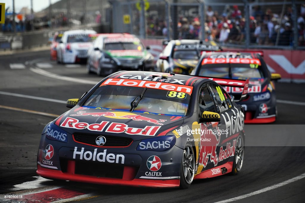 Jamie Whincup drives the #88 Red Bull Holden Racing Team Holden Commodore VF leads Shane Van Gisbergen drives the #97 Red Bull Holden Racing Team Holden Commodore VF during race 26 for the Newcastle 500, which is part of the Supercars Championship at Newcastle Street Circuit on November 26, 2017 in Newcastle, Australia.