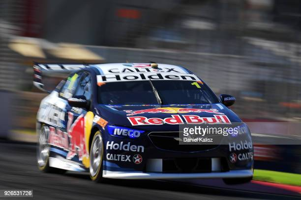Jamie Whincup drives the Red Bull Holden Racing Team Holden Commodore ZB during qualifying for Supercars Adelaide 500 on March 2 2018 in Adelaide...