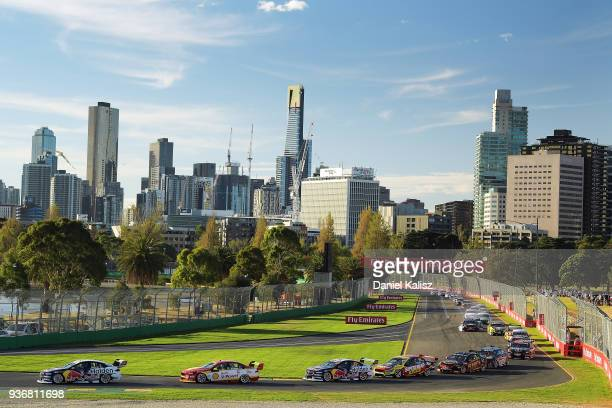 Jamie Whincup drives the Red Bull Holden Racing Team Holden Commodore ZB during race 1 for the Supercars Australian Grand Prix round at Albert Park...