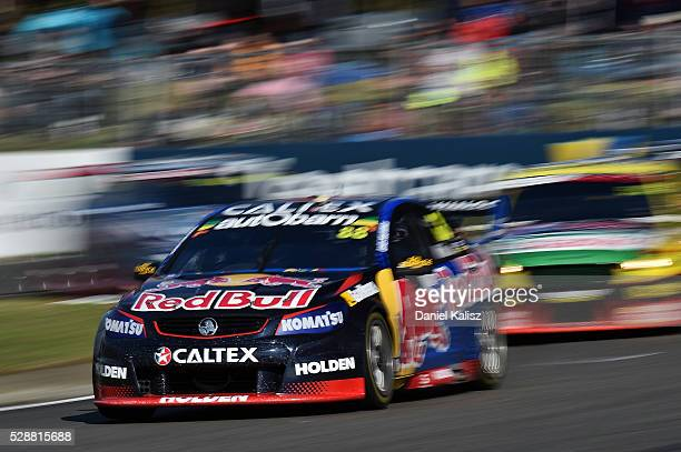 Jamie Whincup drives the Red Bull Racing Australia Holden Commodore VF during race 1 for the V8 Supercars Perth SuperSprint at Barbagallo Raceway on...