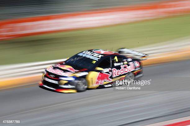 Jamie Whincup drives the Red Bull Racing Australia Holden during practice for the Clipsal 500 which is round one of the V8 Supercar Championship...