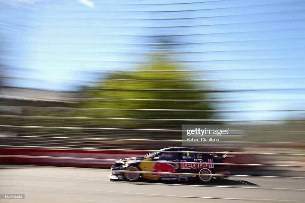 Jamie Whincup drives the #1 Red Bull Racing Australia Holden during race one of the Clipsal 500, which is round one of the V8 Supercar Championship Series, at the Adelaide Street Circuit on March 2, 2013 in Adelaide, Australia.