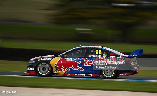 Jamie Whincup drives the Red Bull Racing Australia Holden during race six of the V8 Supercars Phillip Island SuperSprint at Phillip Island Grand Prix...
