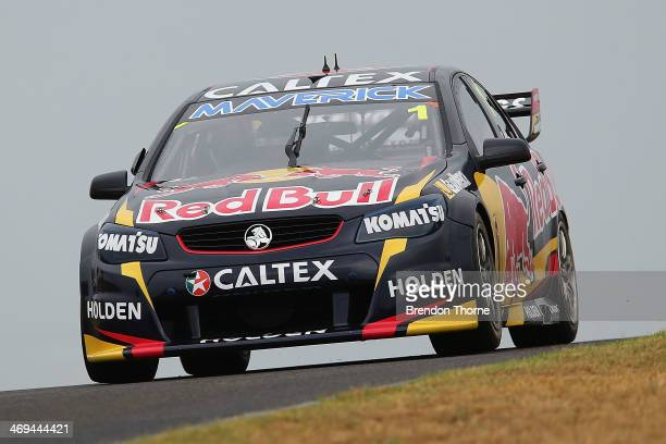 Jamie Whincup drives the Red Bull Racing Australia Holden during the 2014 V8 Supercars test day at Sydney Motorsport Park on February 15 2014 in...