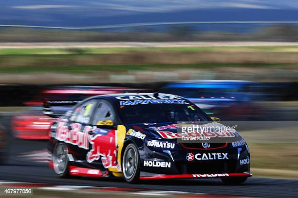 Jamie Whincup drives the Red Bull Racing Australia Holden VF Commodore during Practice 4 for the V8 Supercars Tasmania SuperSprint at Symmons Plains...