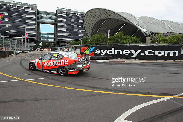 Jamie Whincup drives the Team Vodafone Holden drives during practice for the Sydney 500 which is round 14 of the V8 Supercars Championship Series at...