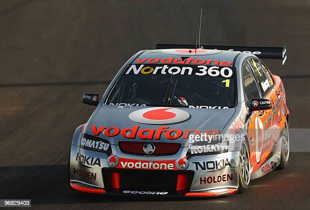 Jamie Whincup drives the Team Vodafone Holden during practice for round one of the V8 Supercar Championship Series at Yas Marina Circuit on February...