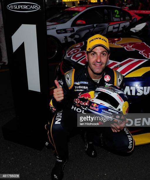 Jamie Whincup who drives the Red Bull Racing Australia Holden celebrates after winning race 22 of the Townsville 500 which is round seven of the V8...