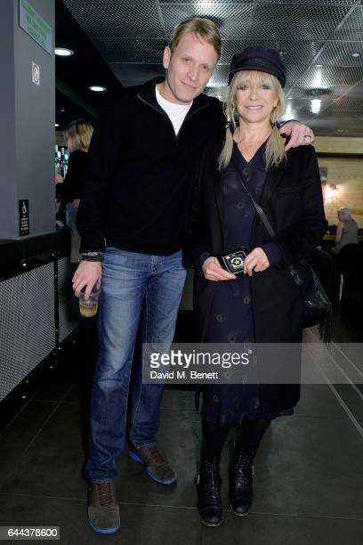 Jamie Wood poses with his mother Jo Wood at the launch of Burger Fi a new burger restaurant on February 23 2017 in London England