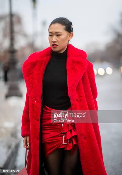 261d00983c Jamie Xie is seen wearing black Gucci top Alexandre Vauthier skirt Saint  Laurent bag sheer tights