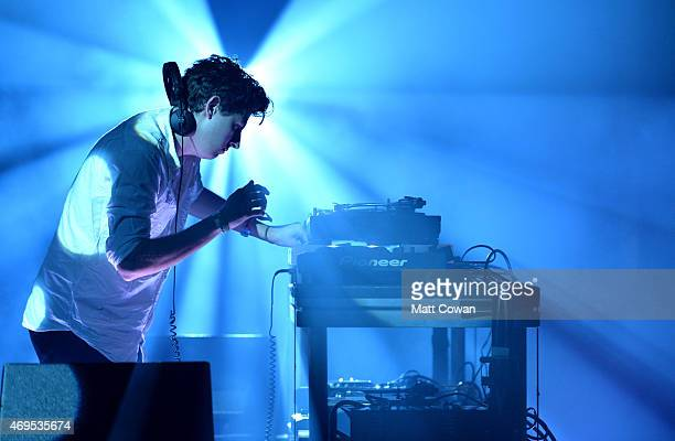 Jamie xx performs onstage during day 3 of the 2015 Coachella Valley Music Arts Festival at the Empire Polo Club on April 12 2015 in Indio California