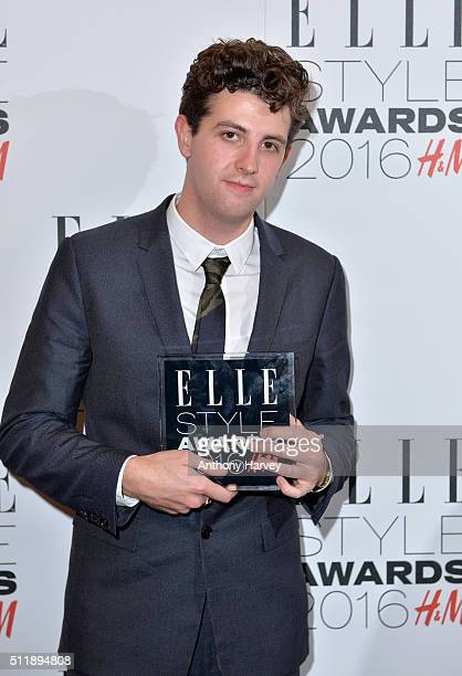 Jamie XX poses with his award for Album of The Year in the winners room at The Elle Style Awards 2016 on February 23 2016 in London England