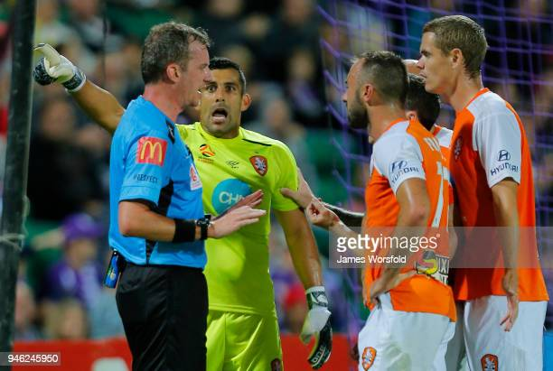 Jamie Young of the Brisbane Roar complains to the referee after giving away a penalty during the round 27 ALeague match between the Perth Glory and...