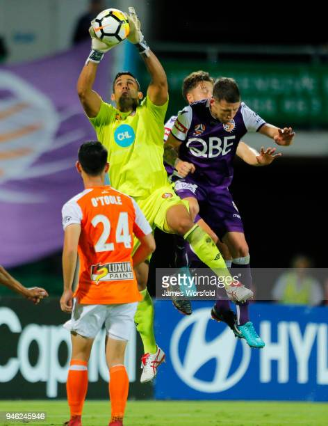 Jamie Young of the Brisbane Roar grabs the ball from corner kick attempt during the round 27 ALeague match between the Perth Glory and the Brisbane...