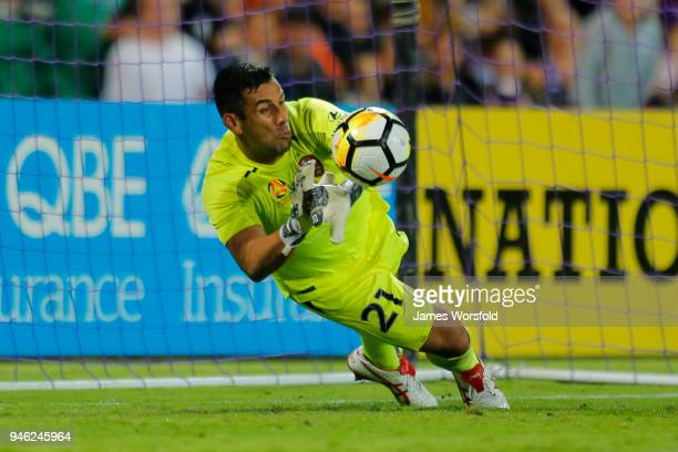 Jamie Young of the Brisbane Roar makes the save from the penalty shot during the round 27 ALeague match between the Perth Glory and the Brisbane Roar...