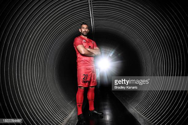 Jamie Young of the Brisbane Roar poses fore a photo during the 2021 A-League Finals Launch at Moreton Daily Stadium on June 07, 2021 in Brisbane,...