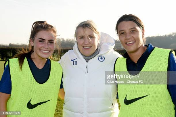 JamieLee Napier with Manager Emma Hayes and Samantha Kerr during the Chelsea Women training session at Chelsea Training Ground on December 29 2019 in...