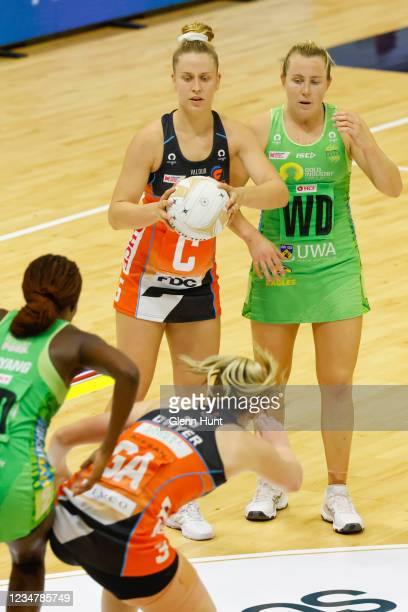 Jamie-Lee Price of the Giants controls the ball during the Preliminary Final Super Netball match between the GWS Giants and West Coast Fever at...