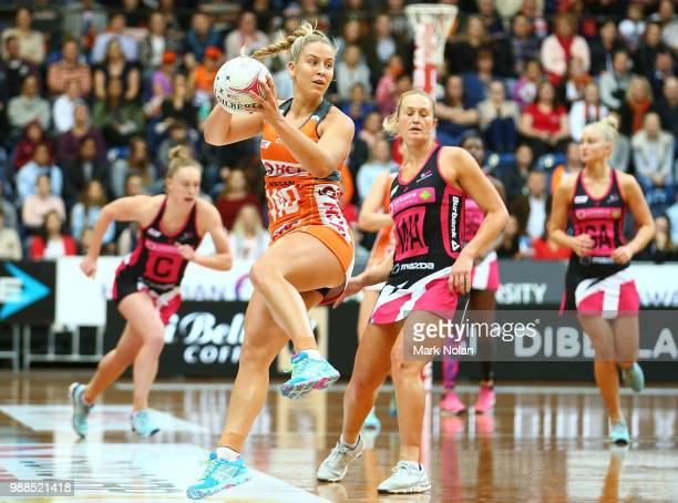 JamieLee Price of the Giants in action during the round nine Super Netball match between the Giants and the Thunderbirds at AIS on July 1 2018 in...