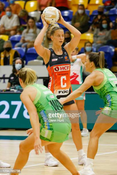 Jamie-Lee Price of the Giants looks for a pass during the Preliminary Final Super Netball match between the GWS Giants and West Coast Fever at...