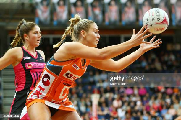 JamieLee Price of the Ginats in action during the round nine Super Netball match between the Giants and the Thunderbirds at AIS on July 1 2018 in...