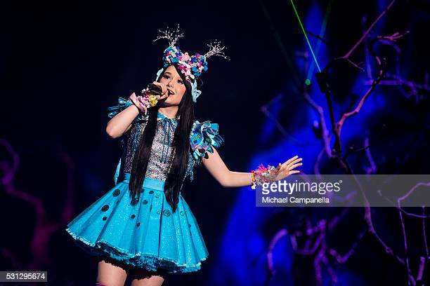 """Jamie-Lee representing Germany performs the song """"Ghost"""" during the final dress rehearsal of the 2016 Eurovision Song Contest at Ericsson Globe Arena..."""