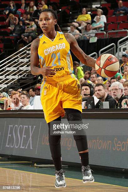 Jamierra Faulkner of the Chicago Sky handles the ball against the Seattle Storm on July 17 at Key Arena in Seattle Washington NOTE TO USER User...