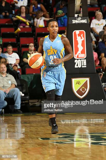 Jamierra Faulkner of the Chicago Sky handles the ball against the Seattle Storm on September 18 2016 at Key Arena in Seattle Washington NOTE TO USER...