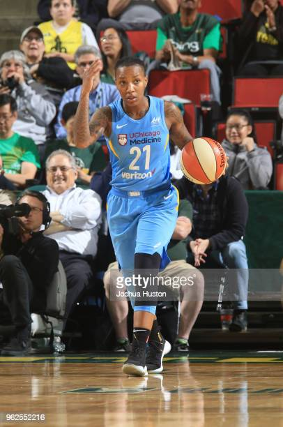 Jamierra Faulkner of the Chicago Sky handles the ball against the Seattle Storm on May 25 2018 at Key Arena in Seattle Washington NOTE TO USER User...
