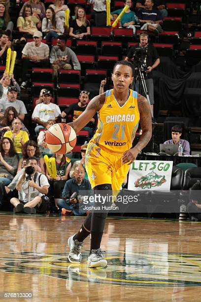 Jamierra Faulkner of the Chicago Sky moves the ball against the Seattle Storm on July 17 at Key Arena in Seattle Washington NOTE TO USER User...