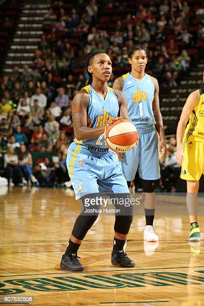Jamierra Faulkner of the Chicago Sky shoots a free throw against the Seattle Storm on September 18 2016 at Key Arena in Seattle Washington NOTE TO...