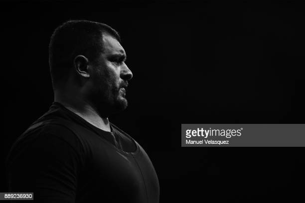 Jamil Elshebli of Jordan gestures during the Men's Over to 107 Kg Group A Category as part of the World Para Powerlifting Championship Mexico 2016 at...