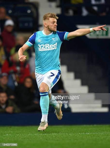 Jamil Jozwiak of Derby County during the Sky Bet Championship match between West Bromwich Albion and Derby County at The Hawthorns on September 14,...