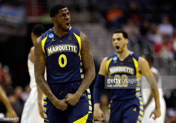 Jamil Wilson and Trent Lockett of the Marquette Golden Eagles react after a play against the Miami Hurricanes during the East Regional Round of the...