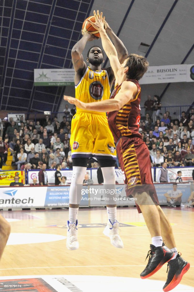 Jamil Wilson of Fiat competes with Benjamin Ortner of Umana during the LegaBasket LBA of Serie A1 match between Reyer Umana Venezia and Auxilium Fiat Torino at Palasport Taliercio on March 19, 2017 in Mestre, Italy.