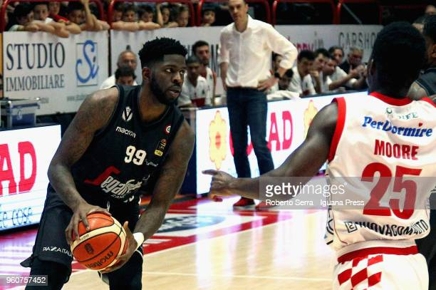 Jamil Wilson of Segafredo competes with Ronald Moore of The Flexx during the LBA LegaBasket match between Olimpia The Flexx Pistoia and Virtus...