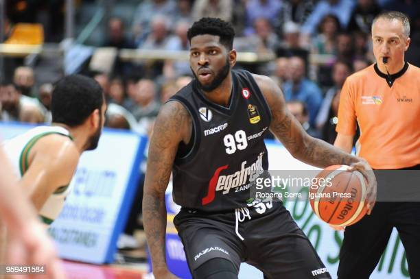 Jamil Wilson of Segafredo competes with Thomas Scrubb of Sidigas during the LBA LegaBasket match between Virtus Segafredo Bologna and Scandone...