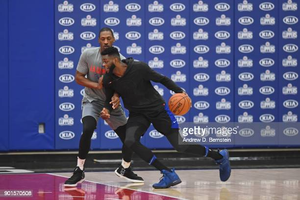 Jamil Wilson of the Agua Caliente Clippers drives to the basket during practice at the Los Angeles Clippers Training Center on December 27 2017 in...