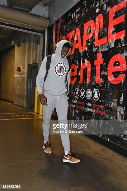 Jamil Wilson of the LA Clippers arrives at the arena before the game against the Los Angeles Lakers on November 27 2017 at STAPLES Center in Los...