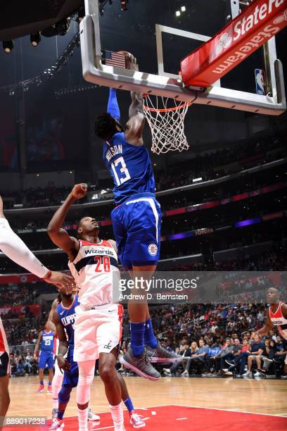 Jamil Wilson of the LA Clippers dunks the ball during the game against the Washington Wizards on December 9 2017 at STAPLES Center in Los Angeles...