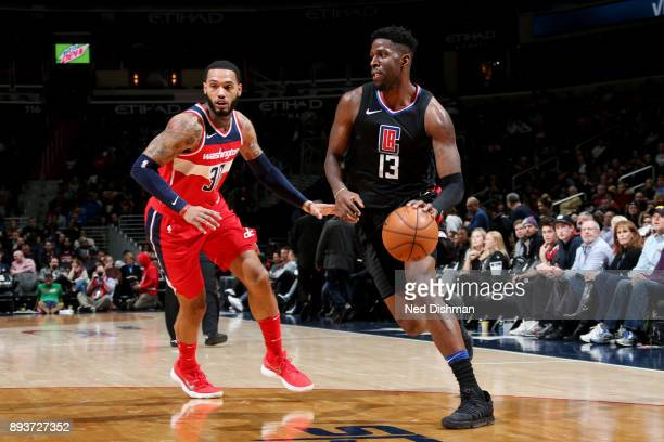 Jamil Wilson of the LA Clippers handles the ball during the game against the Washington Wizards on December 15 2017 at Capital One Arena in...