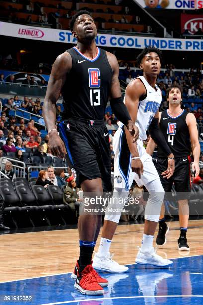 Jamil Wilson of the LA Clippers reacts to a play during the game against the Orlando Magic on December 13 2017 at Amway Center in Orlando Florida...