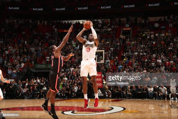 Jamil Wilson of the LA Clippers shoots the ball against the Miami Heat on December 16 2017 at American Airlines Arena in Miami Florida NOTE TO USER...