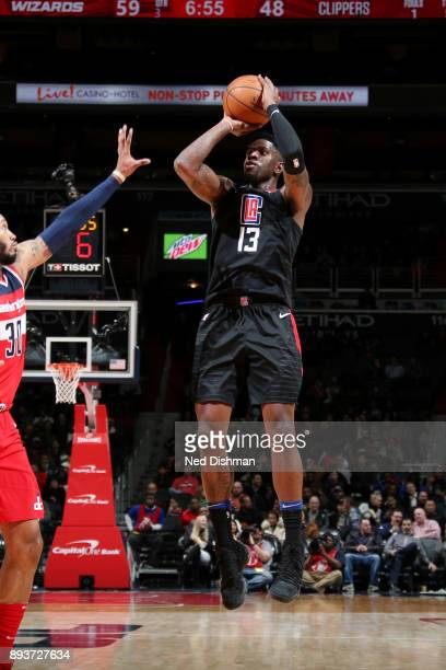 Jamil Wilson of the LA Clippers shoots the ball during the game against the Washington Wizards on December 15 2017 at Capital One Arena in Washington...