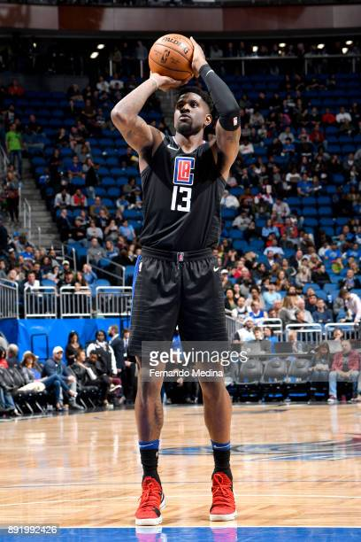 Jamil Wilson of the LA Clippers shoots the ball from the freethrow line against the Orlando Magic on December 13 2017 at Amway Center in Orlando...