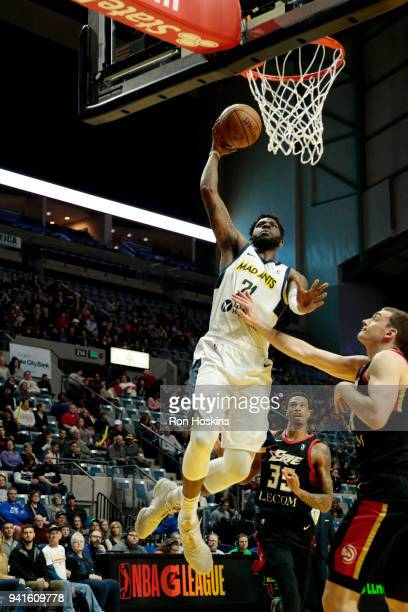 Jamil Wilson of the Fort Wayne Mad Ants battles a Erie Bayhawks defender in the 2018 Eastern Conference semifinals of the NBA G League on April 3...