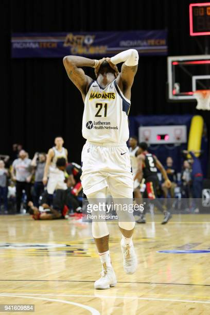 Jamil Wilson of the Fort Wayne Mad Ants reacts after missing a 3 to tie the game against the Erie Bayhawks in the 2018 Eastern Conference semifinals...