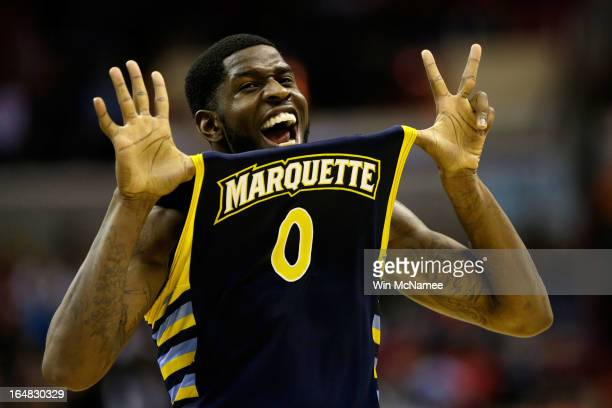 Jamil Wilson of the Marquette Golden Eagles reacts after defeating the Miami Hurricanes during the East Regional Round of the 2013 NCAA Men's...